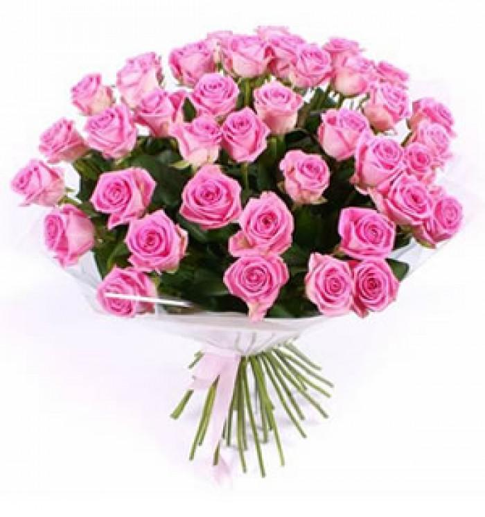 Увеличить - МОНО-Букет из 51 и 101 элитная розовая роза