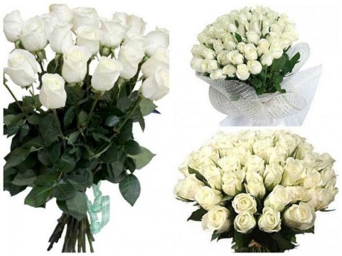 Увеличить - МОНО-Букет 51 и 101 элитная белая роза