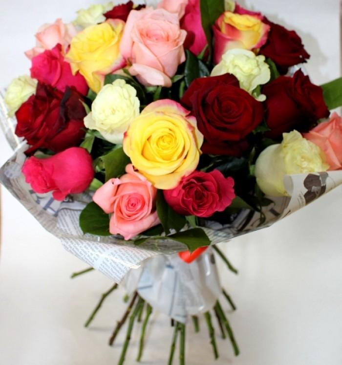 Увеличить - МОНО-Букет Разноцветные розы