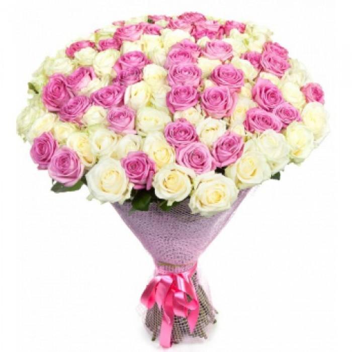 Увеличить - МОНО-букет 51 и 101 Российская белая и розовая роза