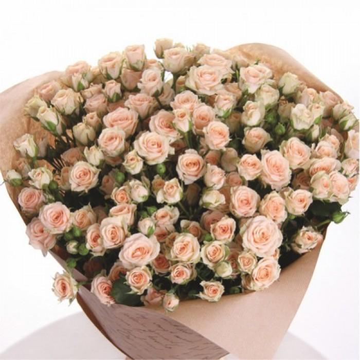 Увеличить - МОНО-Букет из кустовых розовых роз