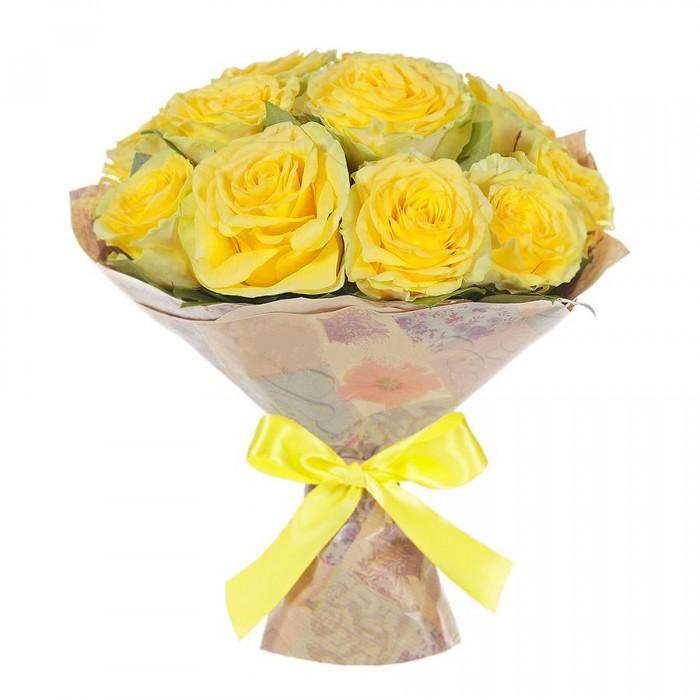 Увеличить - Букет с 15 элитными желтыми розами