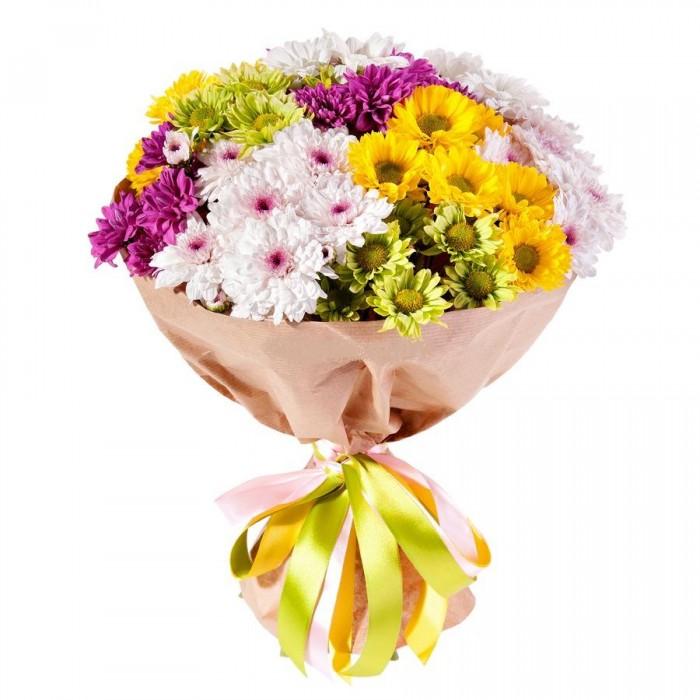 Увеличить - МОНО-Букет из разноцветных кустовых хризантем
