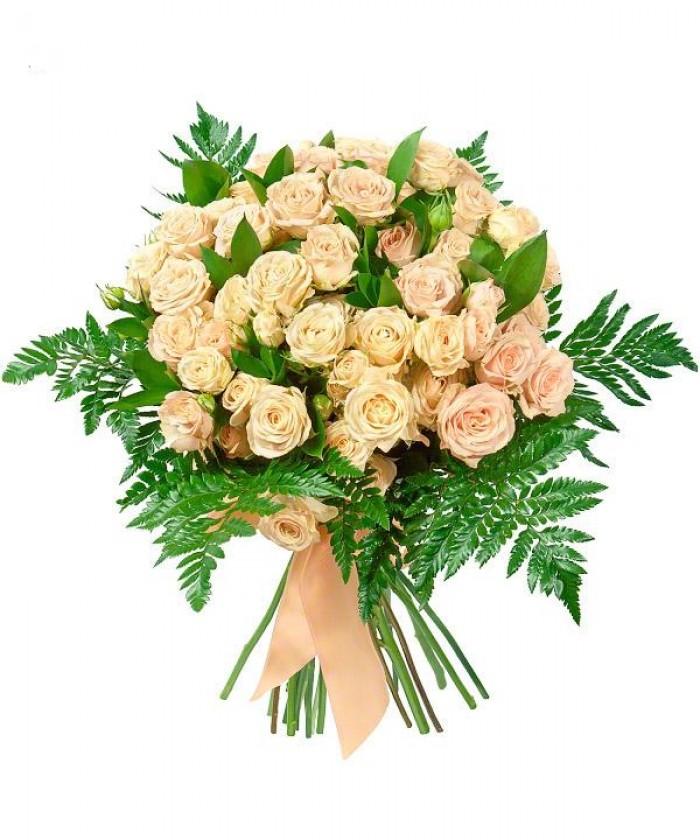Увеличить - Букет с кустовыми кремовыми розами